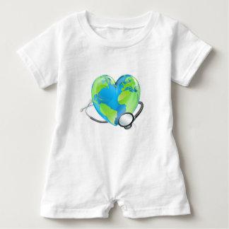 Concept Stethoscope Heart Earth World Globe Health Baby Romper