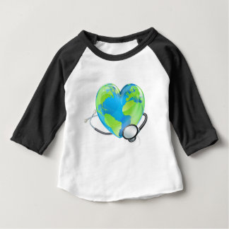 Concept Stethoscope Heart Earth World Globe Health Baby T-Shirt