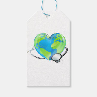 Concept Stethoscope Heart Earth World Globe Health Pack Of Gift Tags