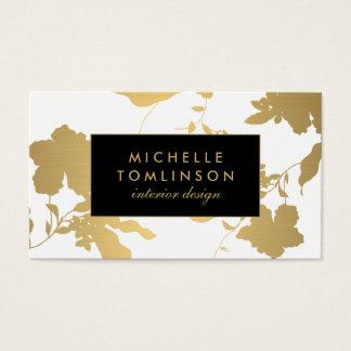 Concepteur floral de blanc de motif d'or élégant cartes de visite