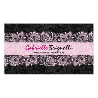 Concepteur floral vintage noir et rose de mariage cartes de visite personnelles