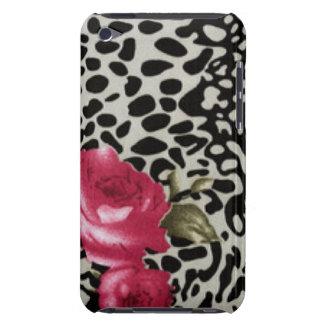 Conception animale de roses de léopard blanc rose coque iPod Case-Mate