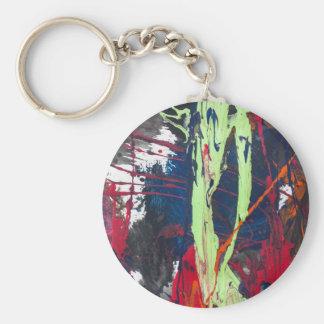 Conception artistique colorée de peinture d'art porte-clé rond