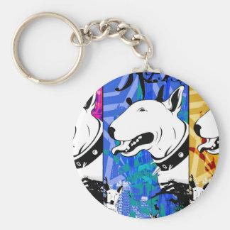 Conception artistique de race de chien de bull-ter porte-clé rond