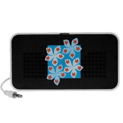 Conception assez florale, bleu, rouge et noir haut-parleur portable