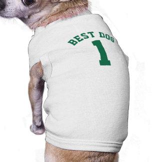 Conception blanche et vert-foncé du Jersey de Tee-shirts Pour Toutous