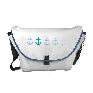 Conception bleue nautique d'ancres - sac blanc sacoche