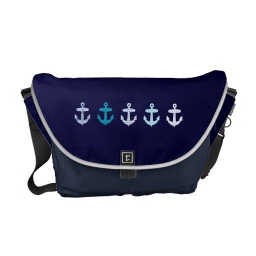 Conception bleue nautique d'ancres - sac de marine besace