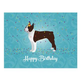 Conception d'anniversaire de Brown Boston Terrier Cartes Postales