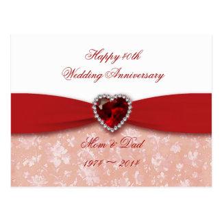 Conception d'anniversaire de mariage de damassé qu carte postale