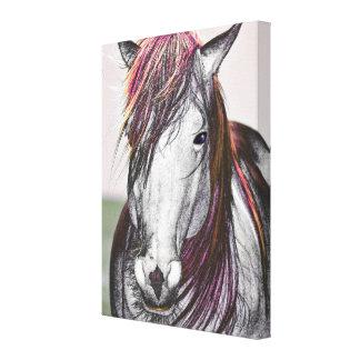 Conception d'art de cheveux de rose de cheval blan toiles