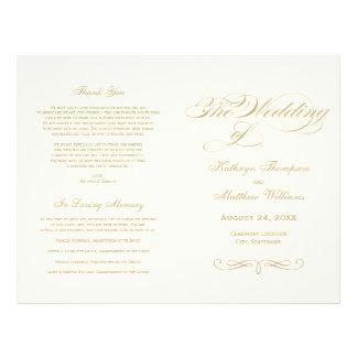 Conception de calligraphie d'or des programmes | prospectus 21,6 cm x 24,94 cm