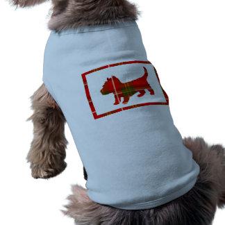 Conception de chienchien de tartan sur le chandail t-shirt pour chien