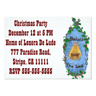 Conception de Noël de Jésus de bébé de houx de Carton D'invitation 12,7 Cm X 17,78 Cm