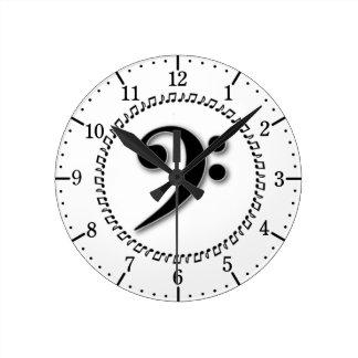 Conception de note de musique de clef basse horloge ronde