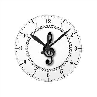 Conception de note de musique de clef triple horloge ronde