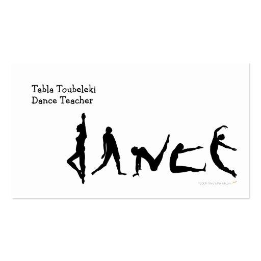 Conception de silhouette de danse de danse cartes de visite personnelles