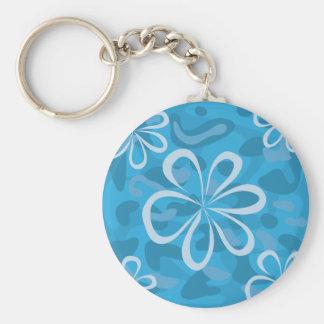 Conception florale bleue porte-clé rond