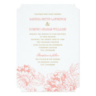 Conception florale de corail de pivoine du carton d'invitation  12,7 cm x 17,78 cm