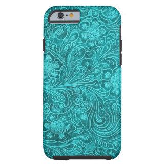 Conception florale simili cuir de suède bleu-vert coque iPhone 6 tough