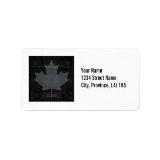 Conception grise et noire de drapeau de feuille d étiquette d'adresse