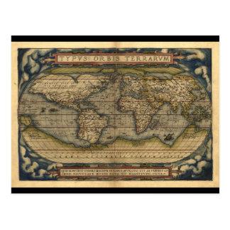 Conception historique du monde d'atlas vintage de carte postale