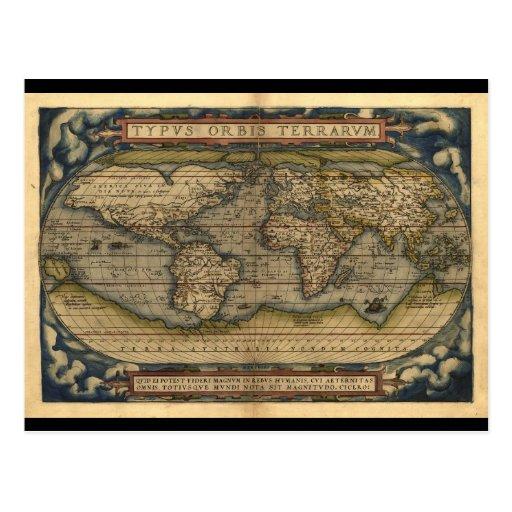 Conception historique du monde d'atlas vintage de cartes postales