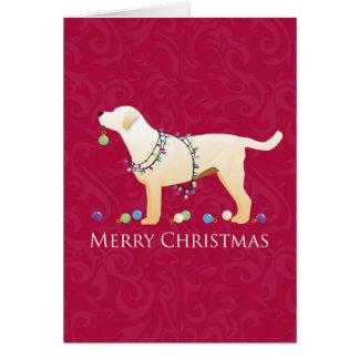Conception jaune de Joyeux Noël de labrador Carte De Vœux