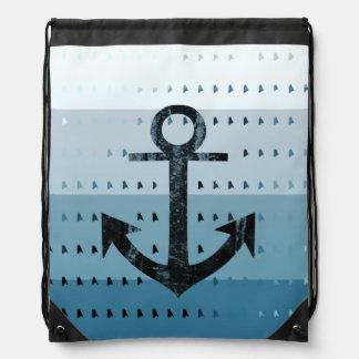 Conception nautique de motif d'ancre bleue masculi sacs avec cordons