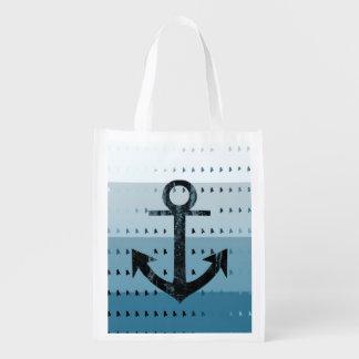 Conception nautique de motif d'ancre bleue sacs d'épicerie réutilisables