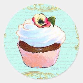 Conception rose d art de petit gâteau adhésifs ronds