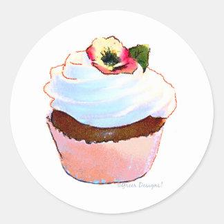 Conception rose d'art de petit gâteau adhésif rond