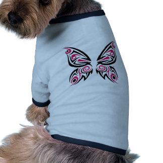 Conception tribale noire rose de tatouage de t-shirt ringer pour chien