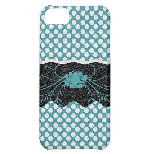 Conception turquoise et blanche de Polkadot et de  Coques Pour iPhone 5C