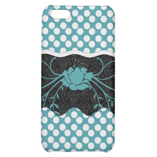 Conception turquoise et blanche de Polkadot et de  Coque Pour iPhone 5C