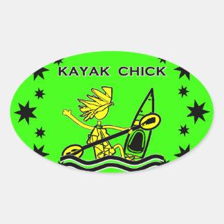 Conceptions et choses de poussin de kayak sticker ovale