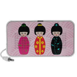 Conceptions mignonnes de poupées de Kokeshi Haut-parleurs Notebook