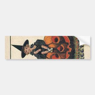 Conceptions vintages de Halloween de sorcière Autocollant De Voiture