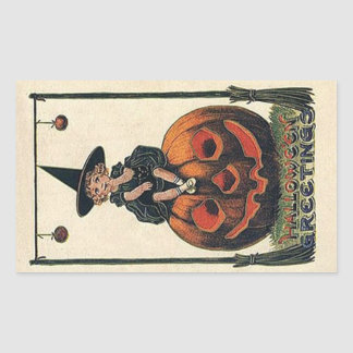 Conceptions vintages de Halloween de sorcière Sticker Rectangulaire