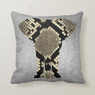 Conceptual Silver Gray Python Elephant Skin Animal Throw Pillow