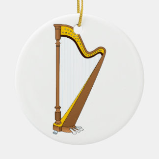 Concert Pedal Harp Graphic Design Ceramic Ornament