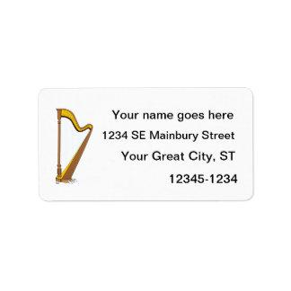 Concert Pedal Harp Graphic Design Address Label