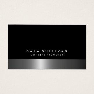 Concert Promoter Bold Dark Chrome Business Card