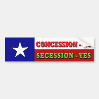 Concession - NO, Secession - YES Bumper Sticker