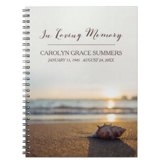 Conch on Beach In Loving Memory Guestbook Spiral Note Books