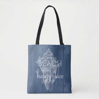 Conch Shell Beach Vintage Blue Wood Tote Bag