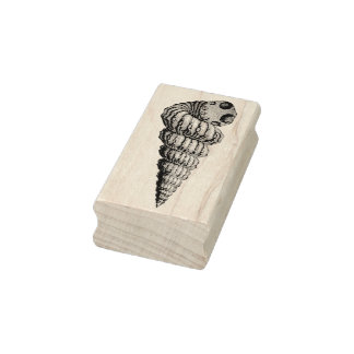 Conch Shell Facing Right Rubber Art Stamp