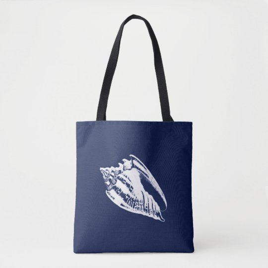 Conch Shell - navy blue and white Tote Bag