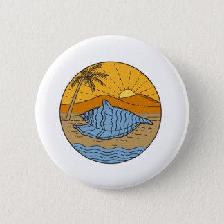 Conch Shell on Beach Mountain Sun Coconut Tree Mon 2 Inch Round Button