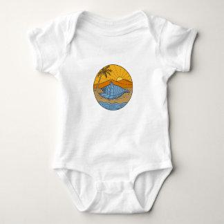 Conch Shell on Beach Mountain Sun Coconut Tree Mon Baby Bodysuit